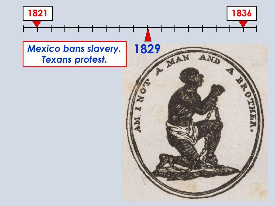 18361821 1829 Mexico bans slavery. Texans protest.