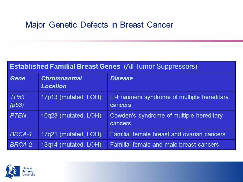 Major Genetic Defects in Breast Cancer Established Familial Breast Genes (All Tumor Suppressors) Gene Chromosomal Location Disease TP53 (p53) 17p13 (mutated, LOH) Li-Fraumeni syndrome of multiple hereditary cancers PTEN10q23 (mutated, LOH) Cowdens syndrome of multiple hereditary cancers BRCA-117q21 (mutated, LOH)Familial female breast and ovarian cancers BRCA-213q14 (mutated, LOH)Familial female and male breast cancers