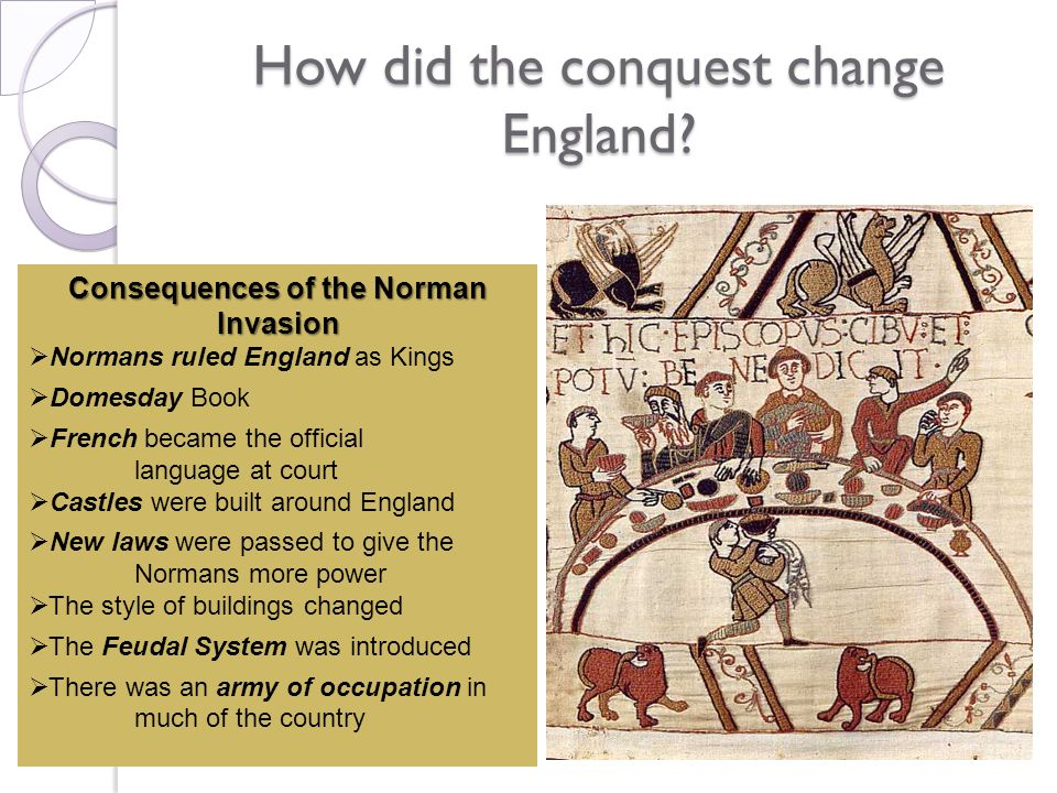 How did the conquest change England? Consequences of the Norman Invasion Normans ruled England as Kings Domesday Book French became the official langu