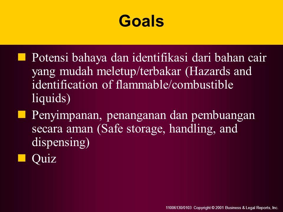 11006130/0103 Copyright © 2001 Business & Legal Reports, Inc. Goals Potensi bahaya dan identifikasi dari bahan cair yang mudah meletup/terbakar (Hazar