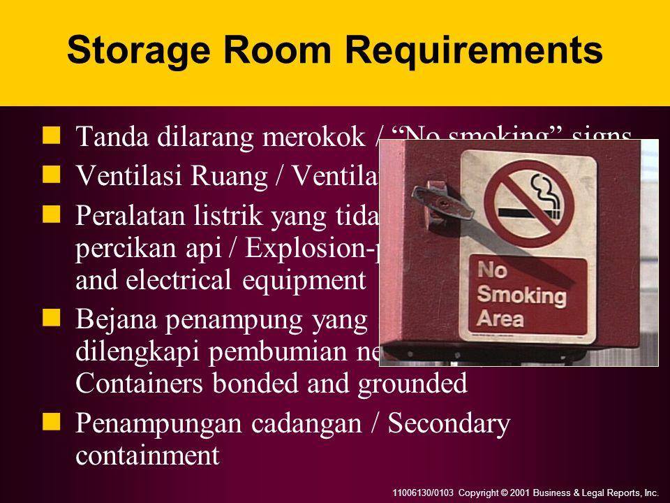 11006130/0103 Copyright © 2001 Business & Legal Reports, Inc. Storage Room Requirements Tanda dilarang merokok / No smoking signs Ventilasi Ruang / Ve
