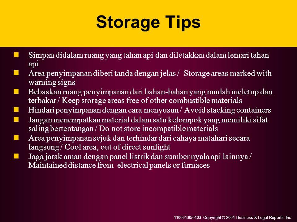 11006130/0103 Copyright © 2001 Business & Legal Reports, Inc. Storage Tips Simpan didalam ruang yang tahan api dan diletakkan dalam lemari tahan api A
