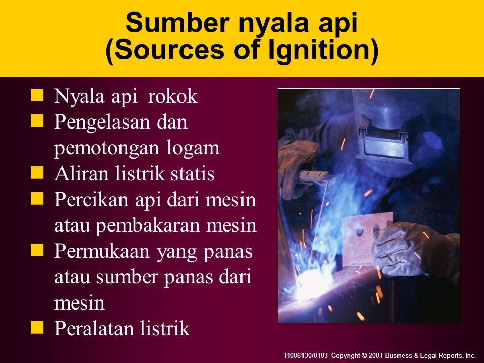 11006130/0103 Copyright © 2001 Business & Legal Reports, Inc. Sumber nyala api (Sources of Ignition) Nyala api rokok Pengelasan dan pemotongan logam A
