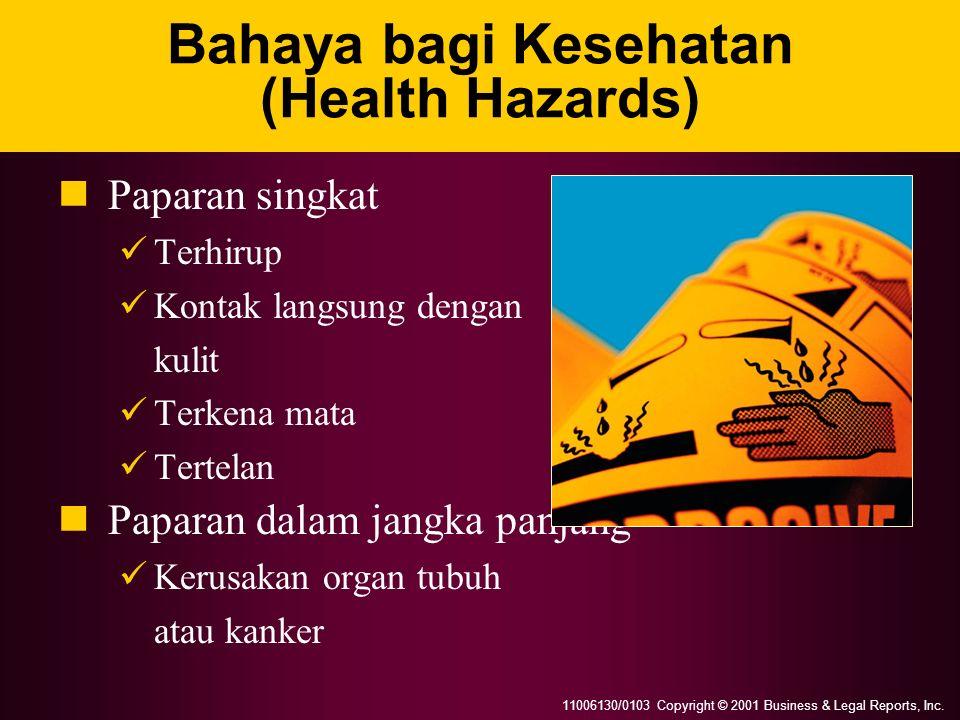 11006130/0103 Copyright © 2001 Business & Legal Reports, Inc. Bahaya bagi Kesehatan (Health Hazards) Paparan singkat Terhirup Kontak langsung dengan k