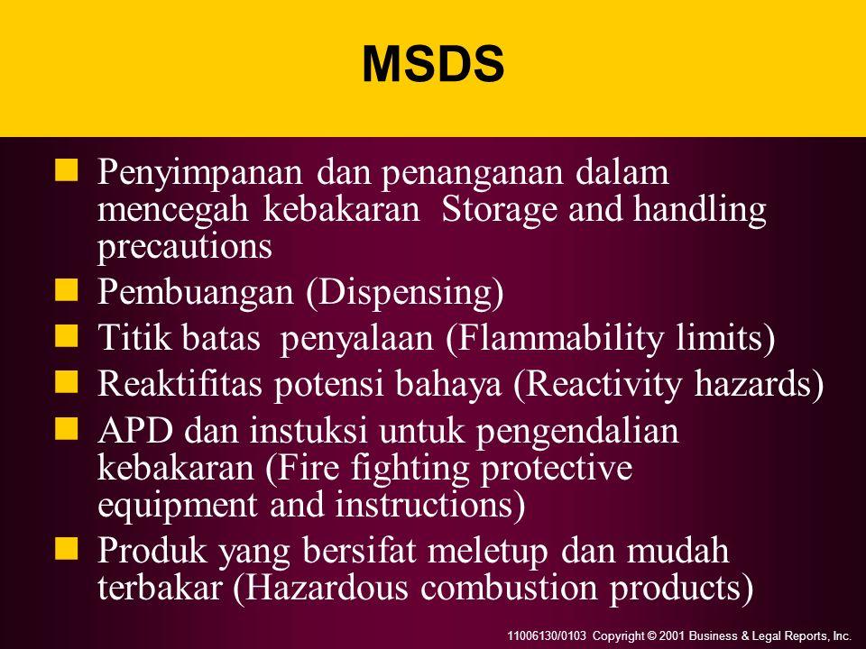 11006130/0103 Copyright © 2001 Business & Legal Reports, Inc. MSDS Penyimpanan dan penanganan dalam mencegah kebakaran Storage and handling precaution