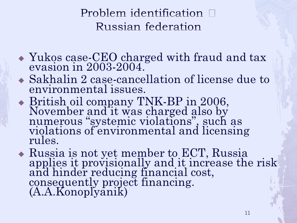 Yukos case-CEO charged with fraud and tax evasion in