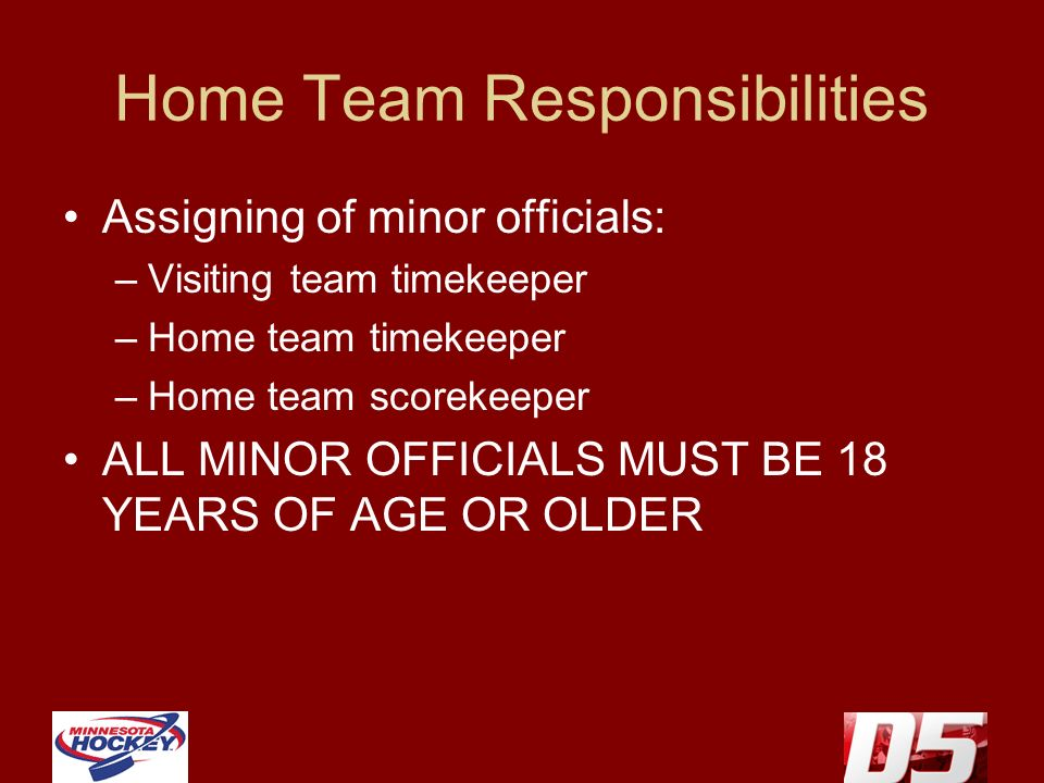 Home Team Responsibilities Assigning of minor officials: –Visiting team timekeeper –Home team timekeeper –Home team scorekeeper ALL MINOR OFFICIALS MU