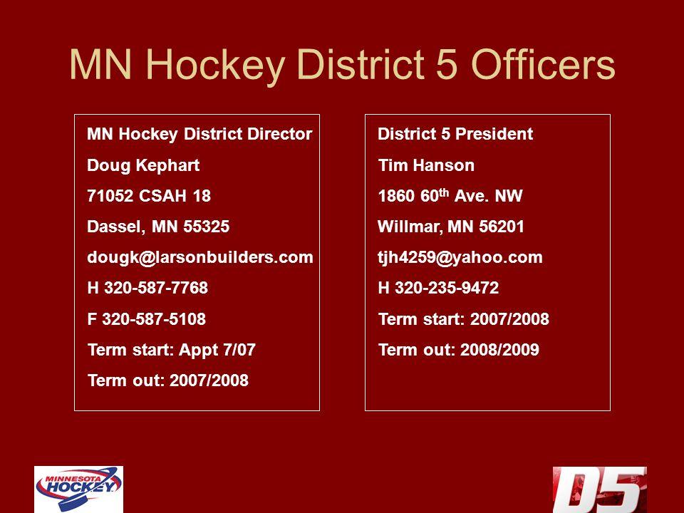 MN Hockey District 5 Officers MN Hockey District Director Doug Kephart 71052 CSAH 18 Dassel, MN 55325 dougk@larsonbuilders.com H 320-587-7768 F 320-587-5108 Term start: Appt 7/07 Term out: 2007/2008 District 5 President Tim Hanson 1860 60 th Ave.