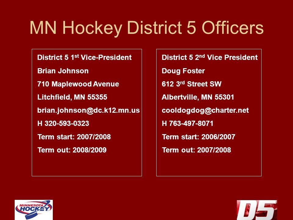 MN Hockey District 5 Officers District 5 1 st Vice-President Brian Johnson 710 Maplewood Avenue Litchfield, MN 55355 brian.johnson@dc.k12.mn.us H 320-593-0323 Term start: 2007/2008 Term out: 2008/2009 District 5 2 nd Vice President Doug Foster 612 3 rd Street SW Albertville, MN 55301 cooldogdog@charter.net H 763-497-8071 Term start: 2006/2007 Term out: 2007/2008