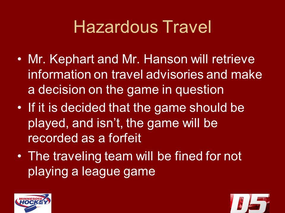 Hazardous Travel Mr. Kephart and Mr.