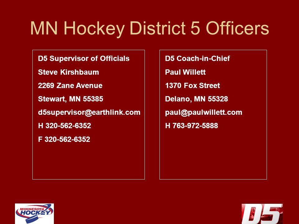 MN Hockey District 5 Officers D5 Supervisor of Officials Steve Kirshbaum 2269 Zane Avenue Stewart, MN 55385 d5supervisor@earthlink.com H 320-562-6352 F 320-562-6352 D5 Coach-in-Chief Paul Willett 1370 Fox Street Delano, MN 55328 paul@paulwillett.com H 763-972-5888