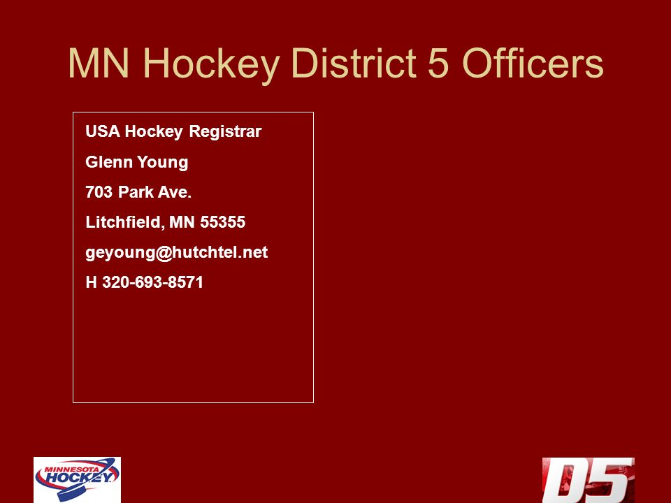MN Hockey District 5 Officers USA Hockey Registrar Glenn Young 703 Park Ave. Litchfield, MN 55355 geyoung@hutchtel.net H 320-693-8571