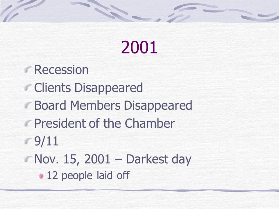 2001 Recession Clients Disappeared Board Members Disappeared President of the Chamber 9/11 Nov.
