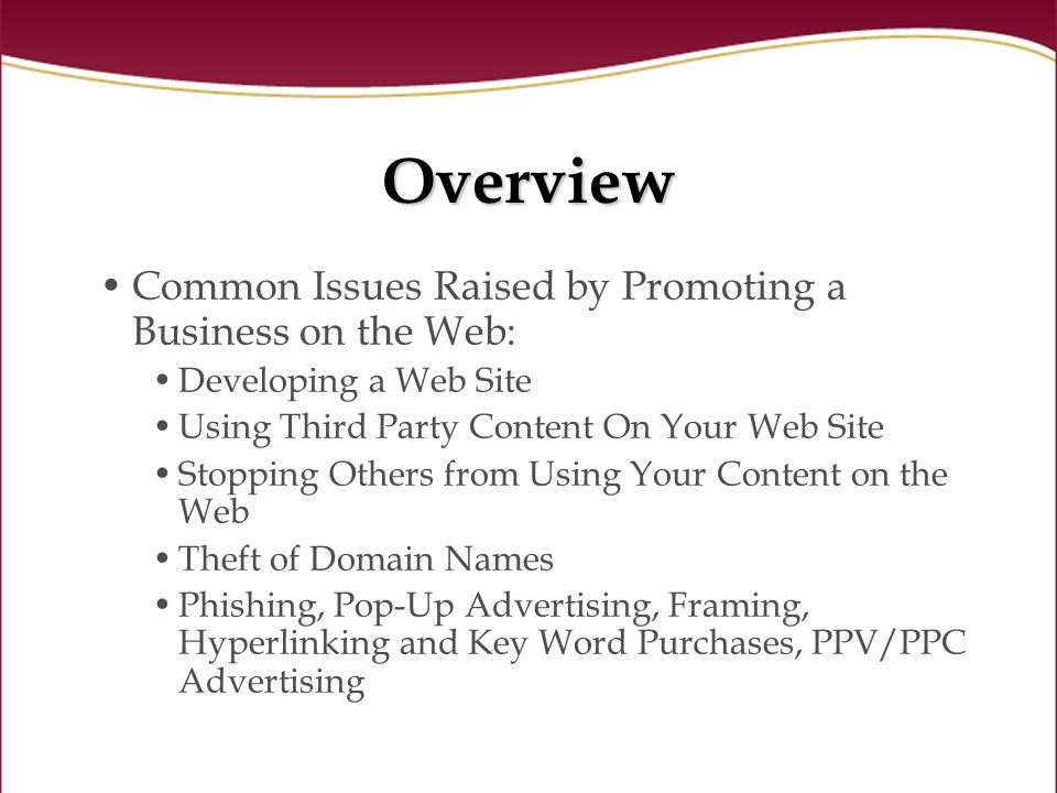 Overview Common Issues Raised by Promoting a Business on the Web: Developing a Web Site Using Third Party Content On Your Web Site Stopping Others from Using Your Content on the Web Theft of Domain Names Phishing, Pop-Up Advertising, Framing, Hyperlinking and Key Word Purchases, PPV/PPC Advertising