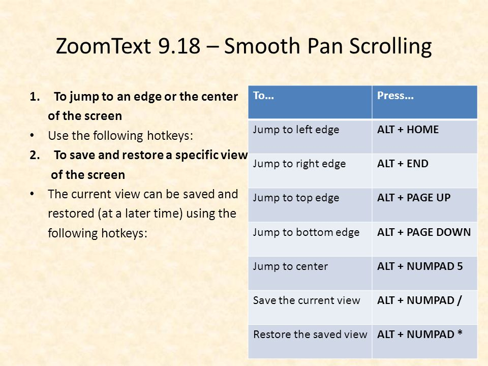 ZoomText 9.18 – Smooth Pan Scrolling 1.To jump to an edge or the center of the screen Use the following hotkeys: 2.To save and restore a specific view of the screen The current view can be saved and restored (at a later time) using the following hotkeys: To...Press...