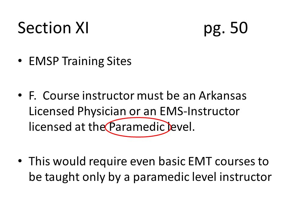 Section XI pg. 50 EMSP Training Sites F.