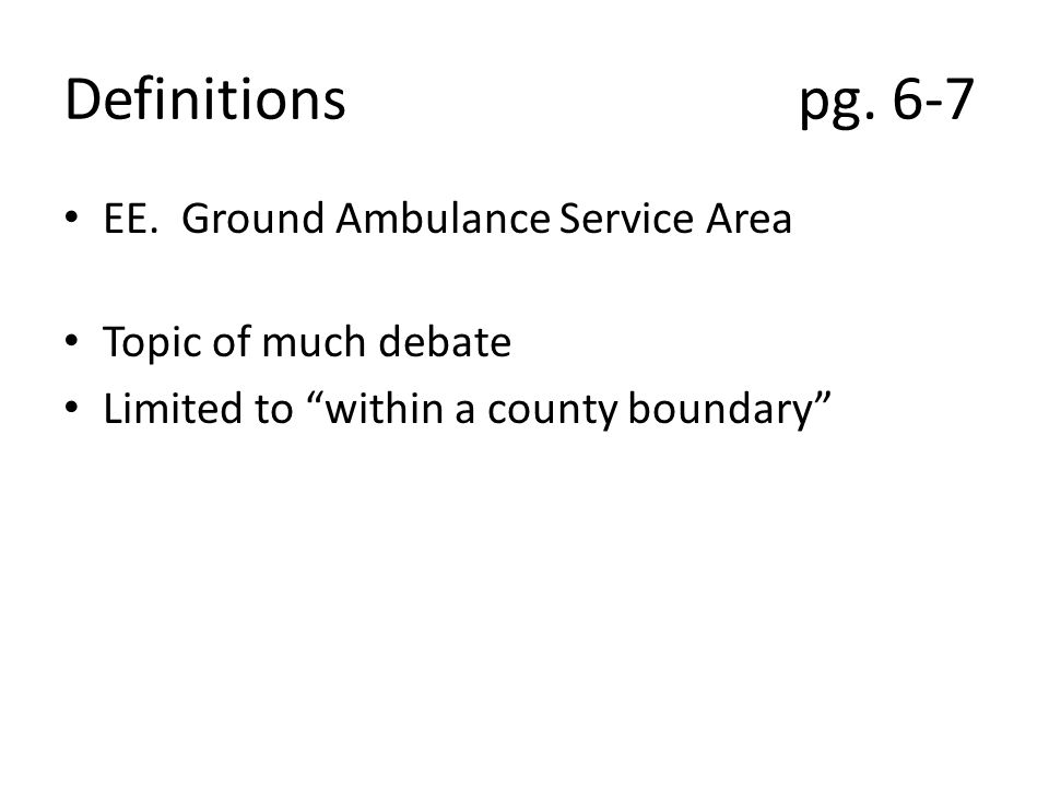 SECTION III LICENSURE OF AMBULANCE SERVICES A.1.