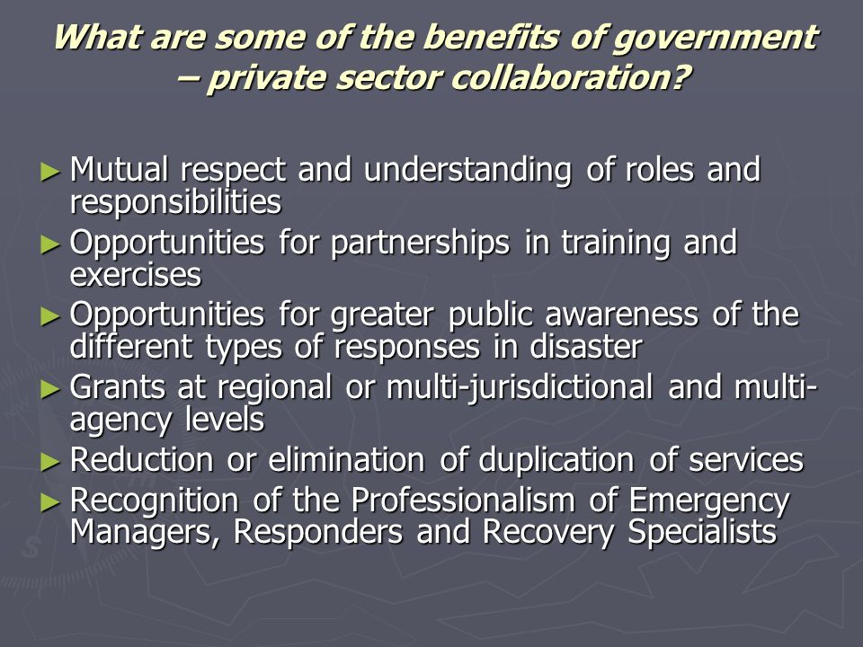 Mutual respect and understanding of roles and responsibilities Mutual respect and understanding of roles and responsibilities Opportunities for partne