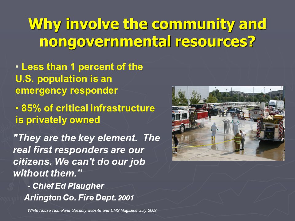 Why involve the community and nongovernmental resources? White House Homeland Security website and EMS Magazine July 2002 Less than 1 percent of the U