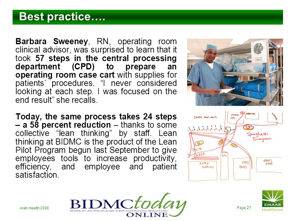 Arab Health 2008 Page 20 Lean does not mean cheap; lean means to focus on the production and distribution of the kind of services which have real valu