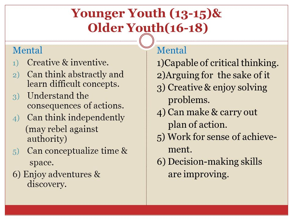 Younger Youth (13-15)& Older Youth(16-18) Mental 1) Creative & inventive. 2) Can think abstractly and learn difficult concepts. 3) Understand the cons