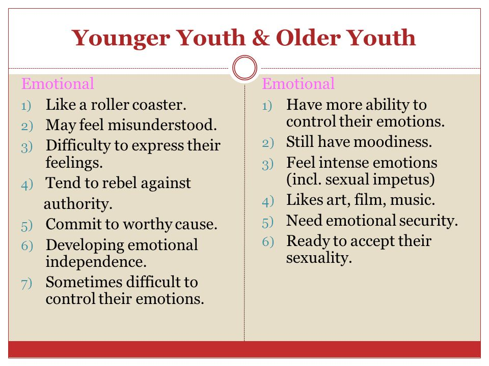 Younger Youth & Older Youth Emotional 1) Like a roller coaster. 2) May feel misunderstood. 3) Difficulty to express their feelings. 4) Tend to rebel a