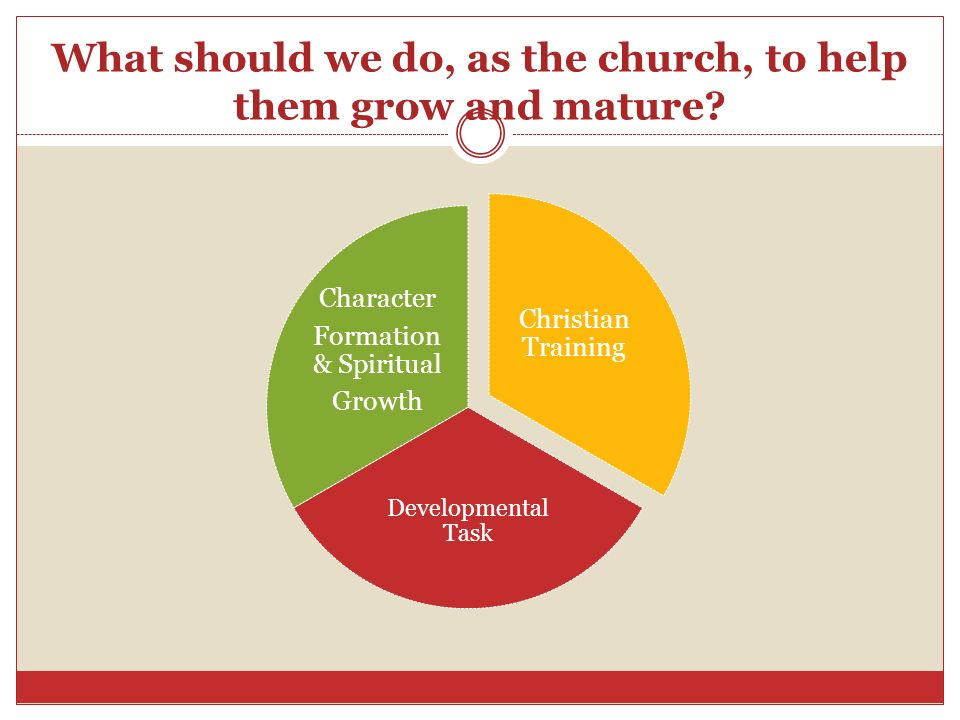 What should we do, as the church, to help them grow and mature? Christian Training Developmental Task Character Formation & Spiritual Growth