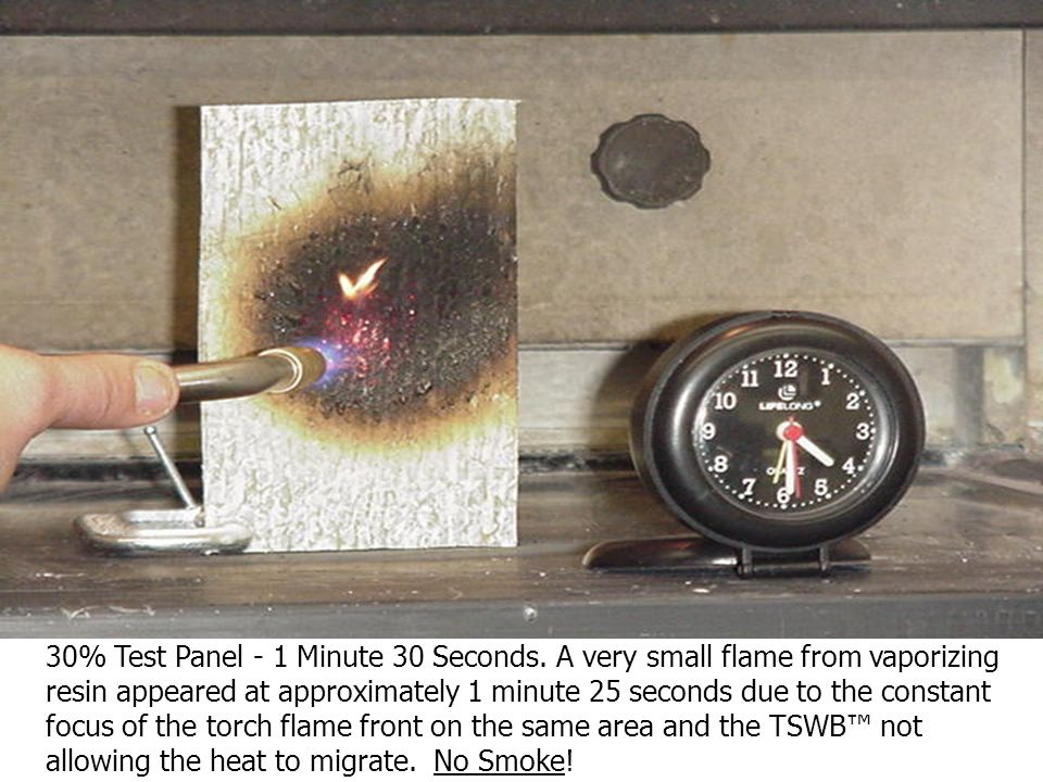 30% Test Panel – Flame source stopped at 1 Minute and 10 seconds for approximately 3 seconds. A small quantity of wispy white smoke caused by the radi