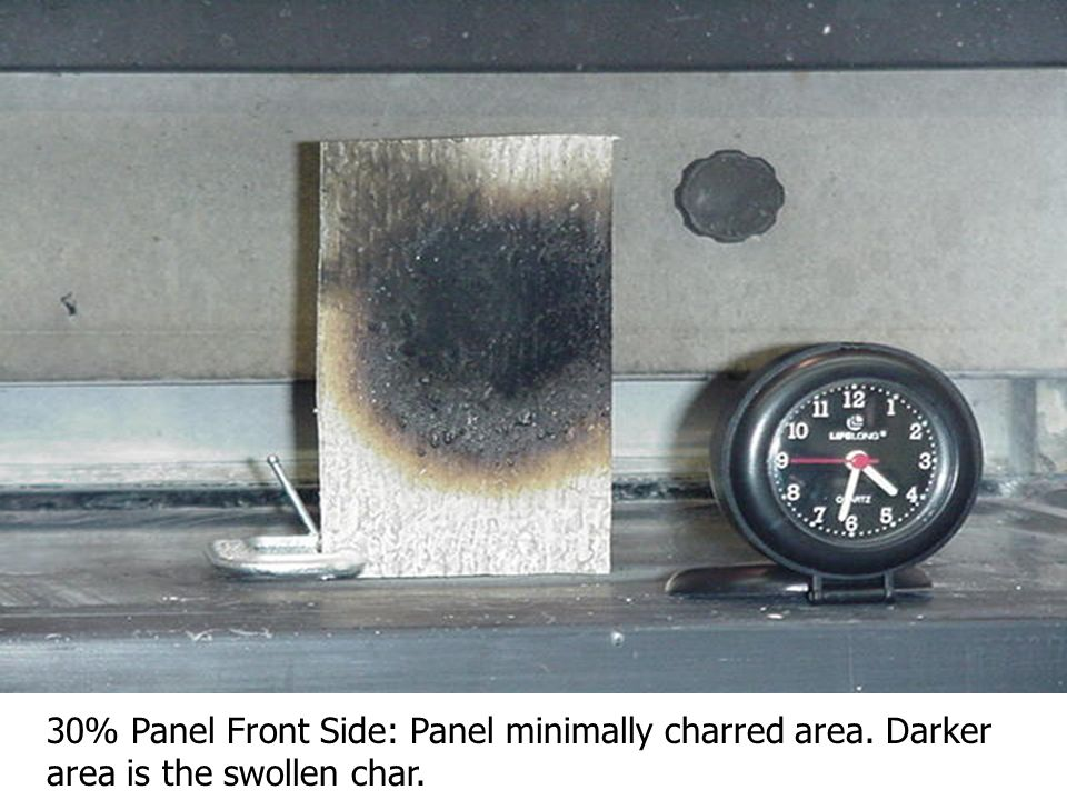 30% Panel: Side View of Char. Note the intumescent (i.e.: foamed) char.