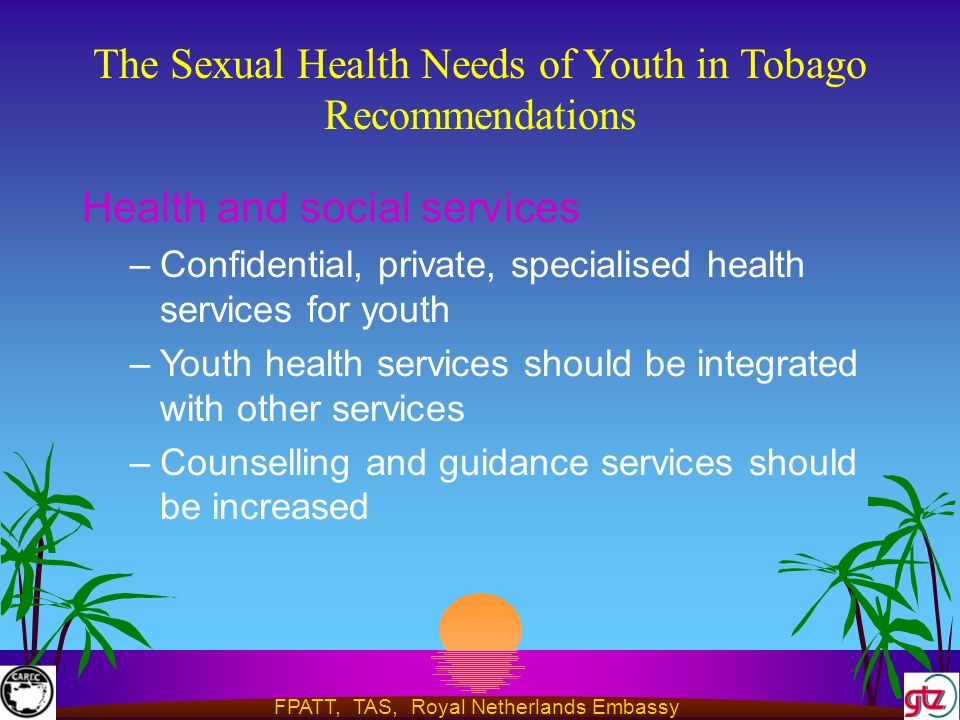 FPATT, TAS, Royal Netherlands Embassy The Sexual Health Needs of Youth in Tobago Recommendations Health and social services –Confidential, private, specialised health services for youth –Youth health services should be integrated with other services –Counselling and guidance services should be increased
