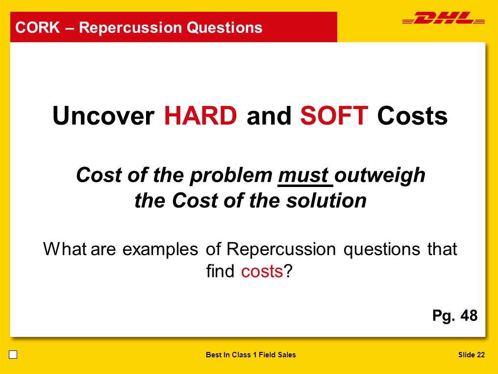 Slide 22Best In Class 1 Field Sales Uncover HARD and SOFT Costs Cost of the problem must outweigh the Cost of the solution What are examples of Reperc