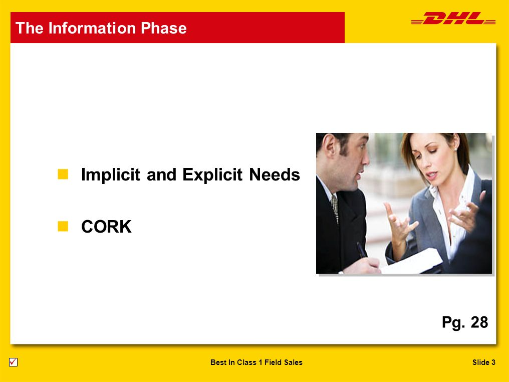 Slide 3Best In Class 1 Field Sales n Implicit and Explicit Needs n CORK The Information Phase Pg. 28
