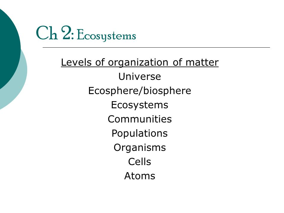 Ch 2: Ecosystems Levels of organization of matter Universe Ecosphere/biosphere Ecosystems Communities Populations Organisms Cells Atoms