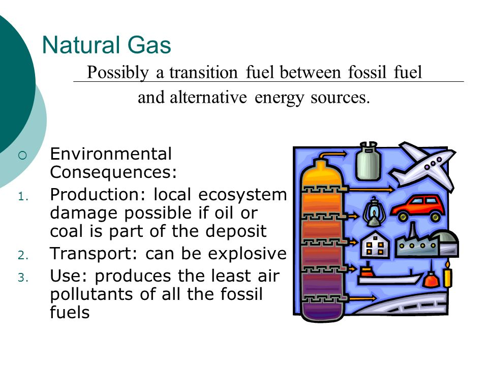 Natural Gas Environmental Consequences: 1. Production: local ecosystem damage possible if oil or coal is part of the deposit 2. Transport: can be expl