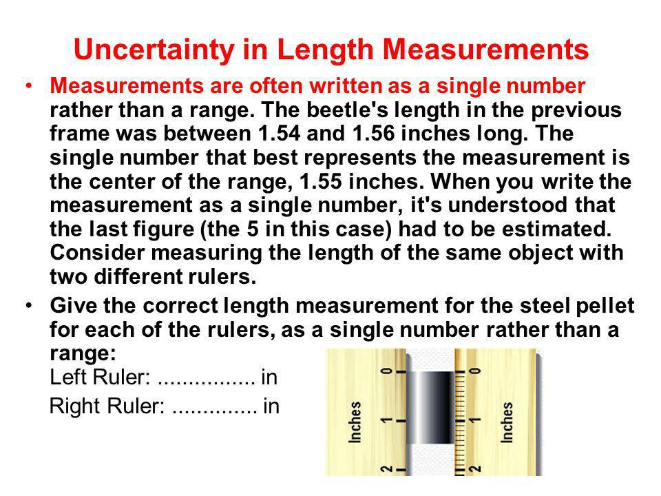 Uncertainty in Length Measurements Measurements are often written as a single number rather than a range. The beetle's length in the previous frame wa
