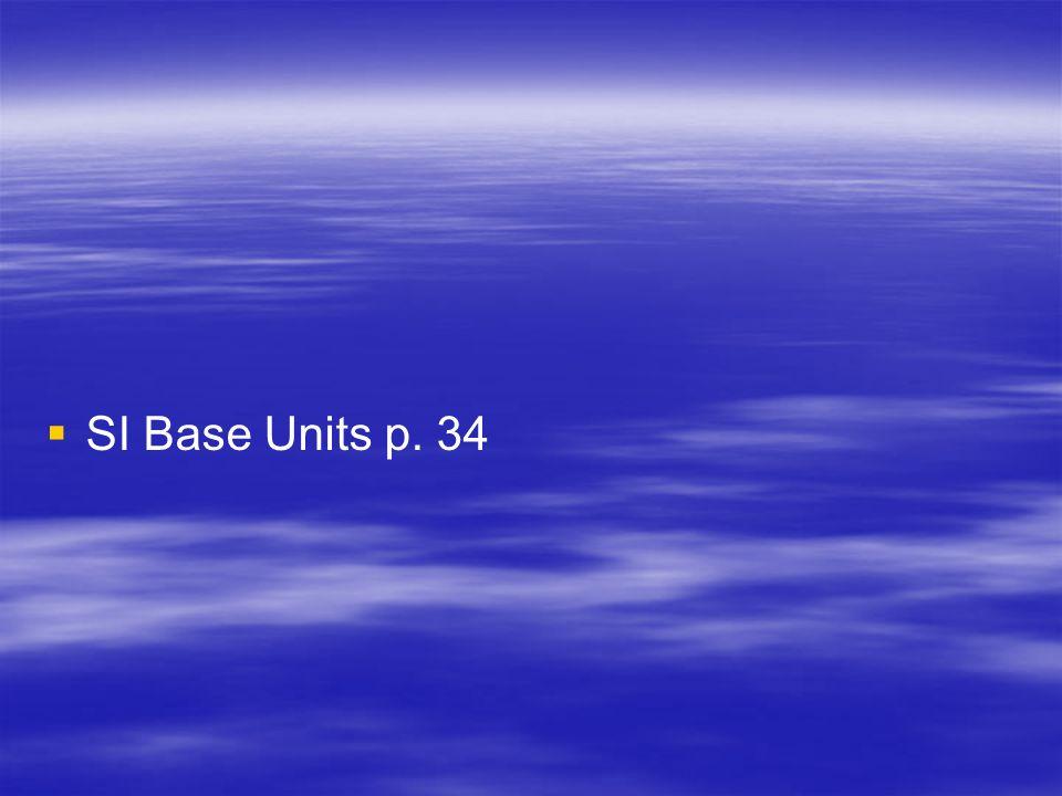 Derived SI Units p. 36 QuantityQuantity Symbol UnitUnit Abbreviation AreaASquare meter m2m2 VolumeVCubic meter m3m3 DensityDKilogram per cubic meter k