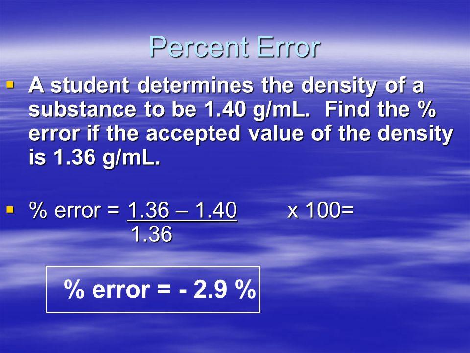 Percent Error Percent Error Indicates accuracy of a measurement Indicates accuracy of a measurement % error = Accepted – Experimental x 100 Accepted %