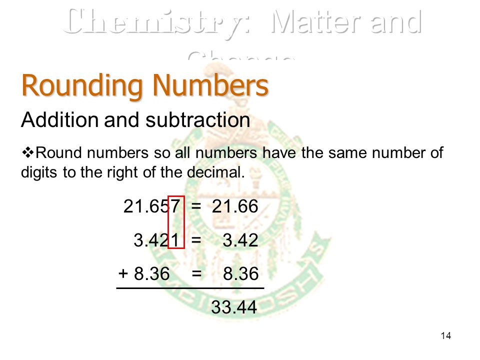 14 Rounding Numbers Addition and subtraction Round numbers so all numbers have the same number of digits to the right of the decimal. 21.657 = 21.66 3