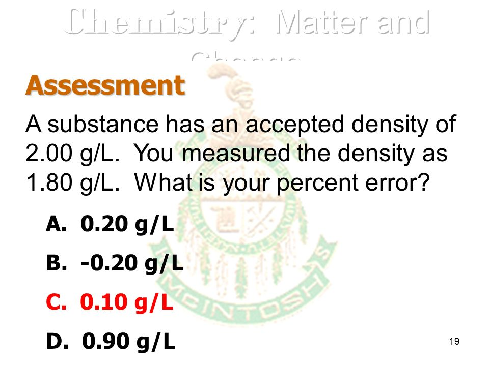 19 Assessment A substance has an accepted density of 2.00 g/L. You measured the density as 1.80 g/L. What is your percent error? A. 0.20 g/L B. -0.20