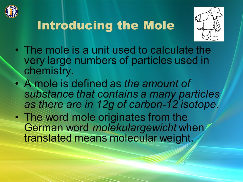 Avogadros Number The number of particles in 12g of carbon is 6.02 x 10 23.