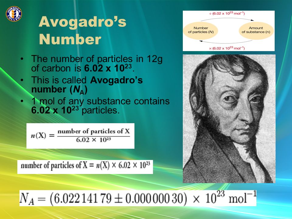 Avogadros Number The number of particles in 12g of carbon is 6.02 x 10 23. This is called Avogadros number (N A ) 1 mol of any substance contains 6.02