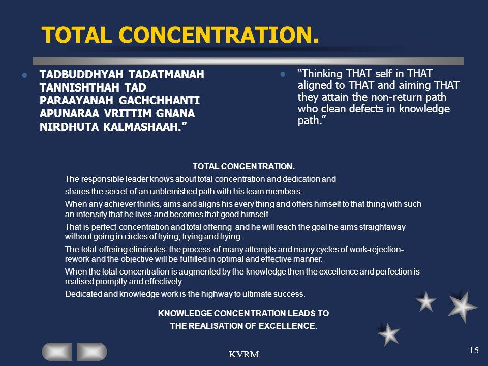 KVRM 15 TOTAL CONCENTRATION. TADBUDDHYAH TADATMANAH TANNISHTHAH TAD PARAAYANAH GACHCHHANTI APUNARAA VRITTIM GNANA NIRDHUTA KALMASHAAH. Thinking THAT s