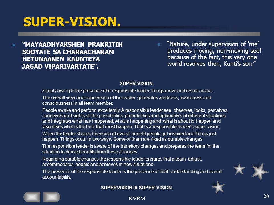 KVRM 20 SUPER-VISION. MAYAADHYAKSHEN PRAKRITIH SOOYATE SA CHARAACHARAM HETUNAANEN KAUNTEYA JAGAD VIPARIVARTATE. Nature, under supervision of me produc