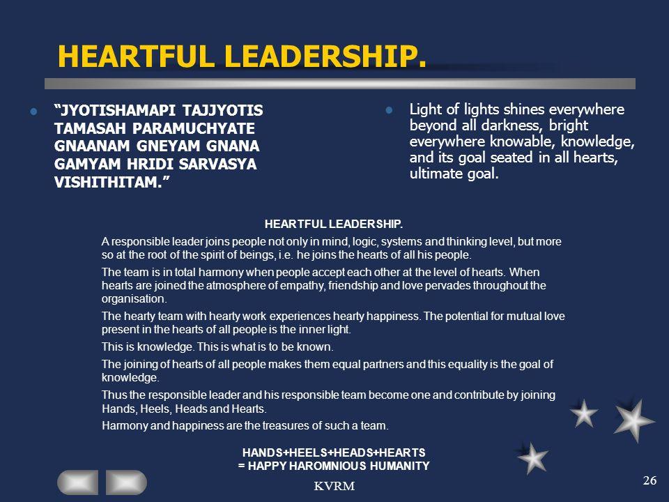 KVRM 26 HEARTFUL LEADERSHIP. JYOTISHAMAPI TAJJYOTIS TAMASAH PARAMUCHYATE GNAANAM GNEYAM GNANA GAMYAM HRIDI SARVASYA VISHITHITAM. Light of lights shine