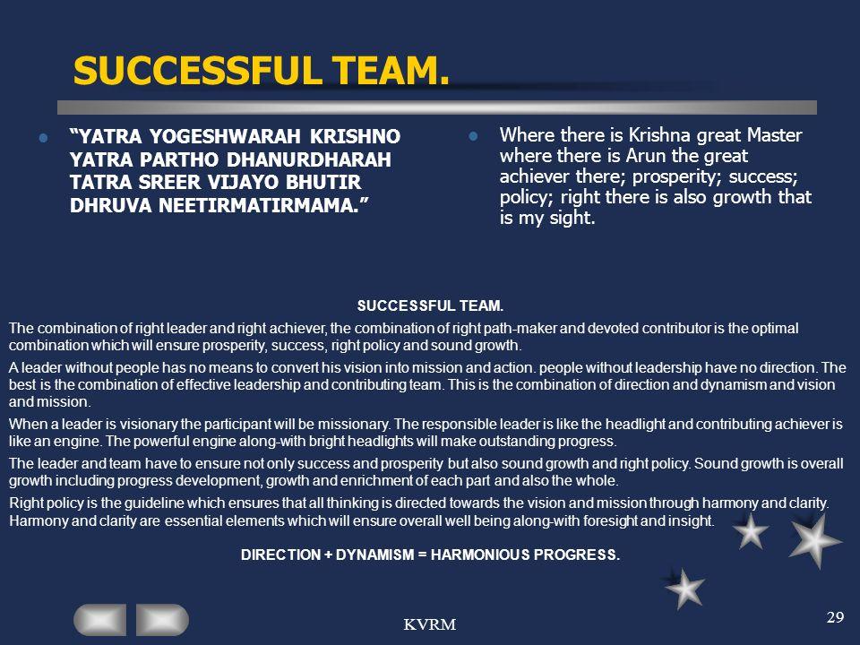 KVRM 29 SUCCESSFUL TEAM. YATRA YOGESHWARAH KRISHNO YATRA PARTHO DHANURDHARAH TATRA SREER VIJAYO BHUTIR DHRUVA NEETIRMATIRMAMA. Where there is Krishna