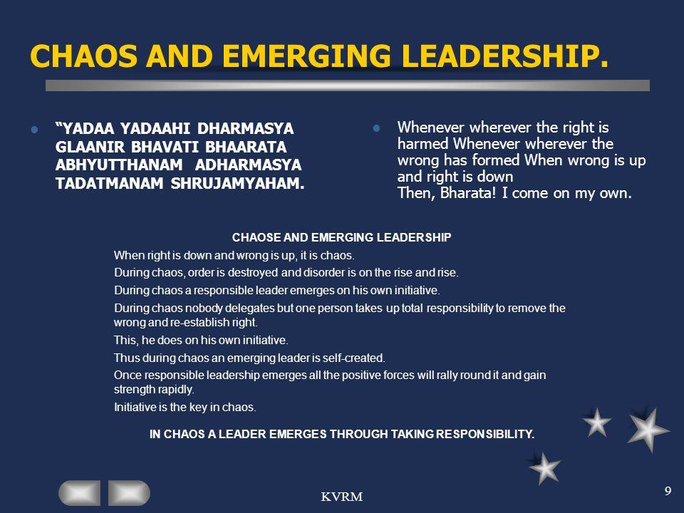KVRM 9 CHAOS AND EMERGING LEADERSHIP. YADAA YADAAHI DHARMASYA GLAANIR BHAVATI BHAARATA ABHYUTTHANAM ADHARMASYA TADATMANAM SHRUJAMYAHAM. Whenever where