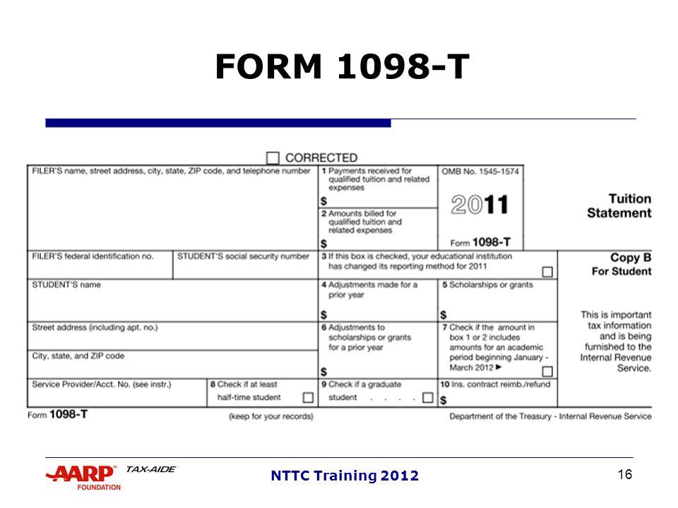 16 NTTC Training 2012 FORM 1098-T