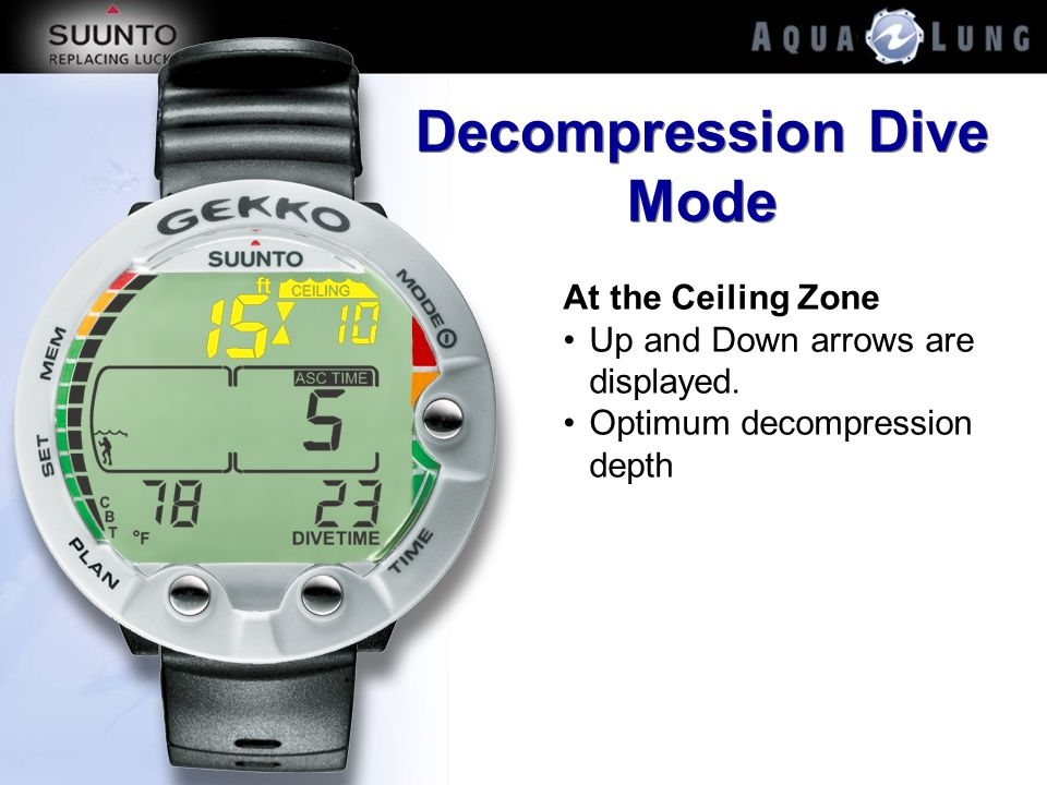 Decompression Dive Mode At the Ceiling Zone Up and Down arrows are displayed. Optimum decompression depth