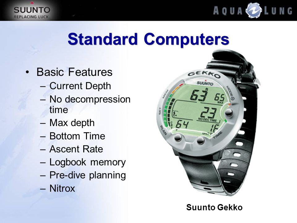 Standard Computers Basic Features –Current Depth –No decompression time –Max depth –Bottom Time –Ascent Rate –Logbook memory –Pre-dive planning –Nitro