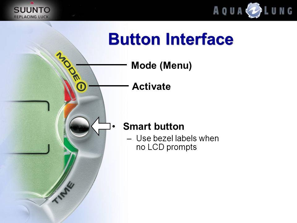 Button Interface Smart button –Use bezel labels when no LCD prompts Mode (Menu) Activate